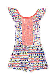 Knit Lace Front Romper Girls 4-6x