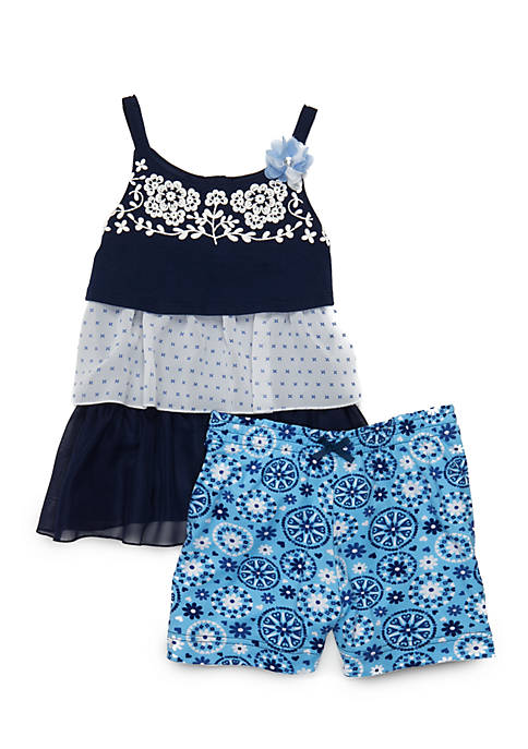 Nannette Girls 4-6x Tier Top Shorts Set