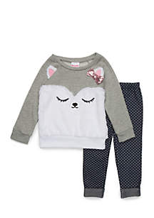 Girls 4-6x Bearcat Fur Sweashirt Set
