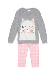 Girls 4-6x Cat Sweater Set
