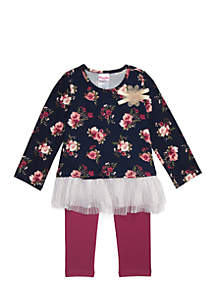 Girls 4-6x Floral Yummy with Glitter Tulle Legging Set