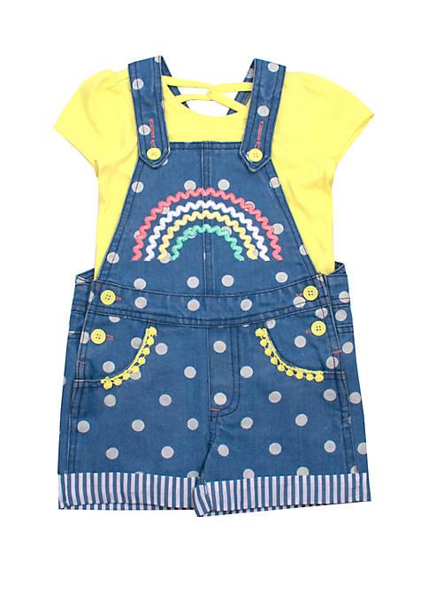 Nannette Girls 4-6x Rainbow Denim Overalls Set