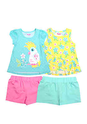 ff510217ed3bb Nannette Girls 4-6x Bird Tops and Shorts Set ...