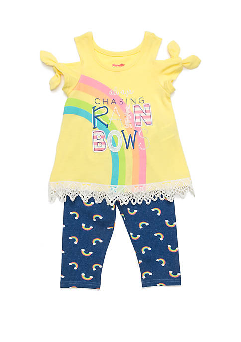 Nannette Girls 4-6x Chasing Rainbows Legging Set