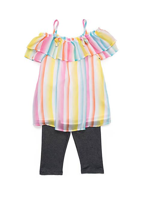 Nannette Girls 4-6x Stripe Chiffon Tassel Top Legging