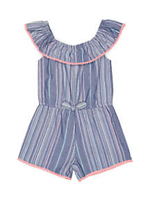 Nannette Girls 4-6x Woven Ruffle Collar Romper