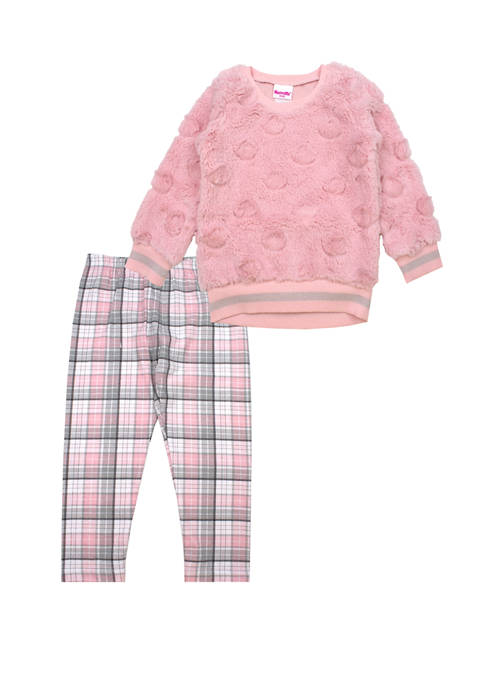 Nannette Toddler Girls Embossed Top and Plaid Leggings