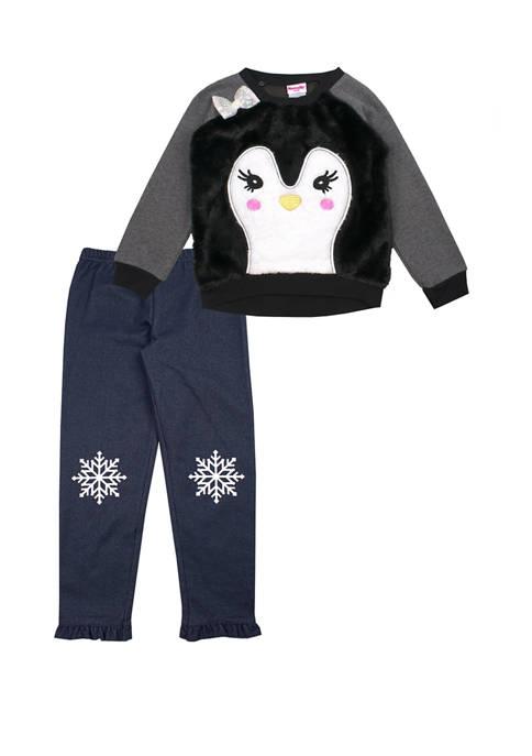 Nannette Toddler GIrls Penguin Cozy Top and Denim