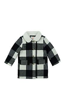 Girls 4-6x Black Plaid Coat