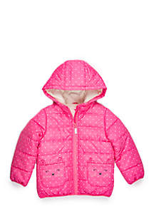 Toddler Girls Dot Jacket with Kitty Ear Pockets