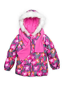 Girls 4-6x Floral Puffer Jacket