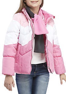 Girls 7-16 Multi Pink Puffer Jacket with Scarf
