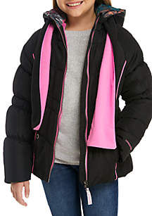 Girls 7-16 Contrast Pipe Puffer Jacket with Scarf