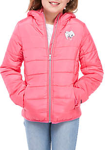 Girls 7-16 Packable Solid Puffer Jacket