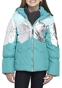 Girls 7-16 Colorblock Hooded Puffer with Scarf