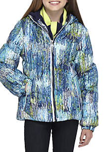 Girls 7-16 Multi Print Puffer With Scarf