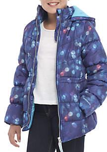 Girls 7-16 Multi Print Cinch Waist Puffer Jacket with Mittens