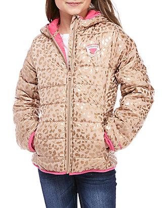 be0fcefd7150 London Fog® Girls 7-16 Packable Foil Cheetah Puffer Jacket   belk