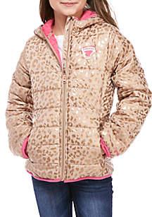 Girls 7-16 Packable Foil Cheetah Puffer Jacket
