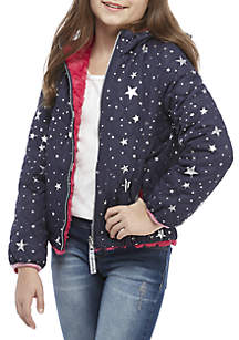 Girls 7-16 Reversible Foil Star Quilted and Pink Fur Jacket