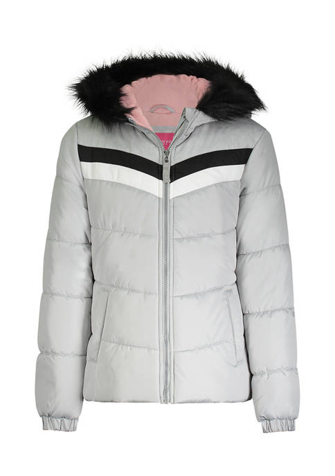 Amerex Girls 7-16 Gray Color Block Puffer Jacket