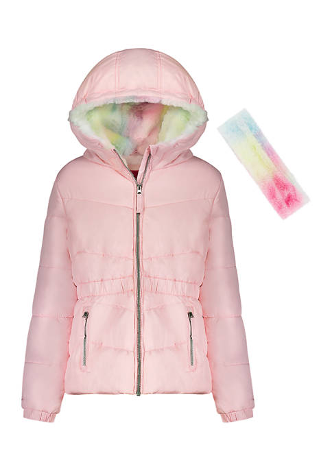 Amerex Girls 4-6x Solid Puffer Jacket with Tie