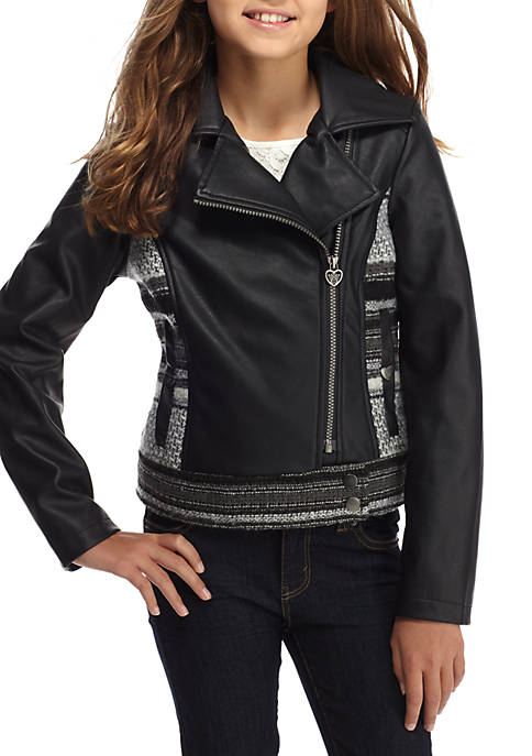 Jessica Simpson Faux Leather Jacket Girls 7-16