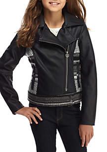 Faux Leather Jacket Girls 7-16