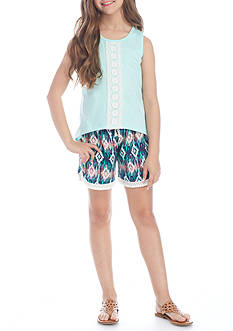 One Step Up Crochet Tank and Multi Print Shorts set Girls 7-16