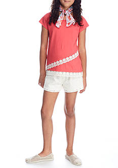 One Step Up Solid Top and Crochet Short 2-Piece Set Girls 7-16