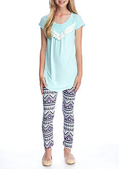 One Step Up Solid Top and Printed Leggings 2-Piece Set Girls 7-16
