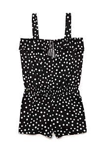 Girls 4-6x Black and White Polka Dot Romper