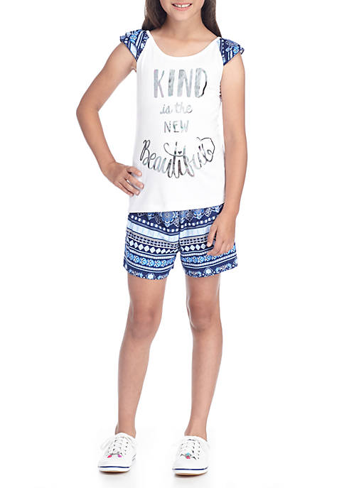 One Step Up Girls 7-16 Print Ruffle Tank