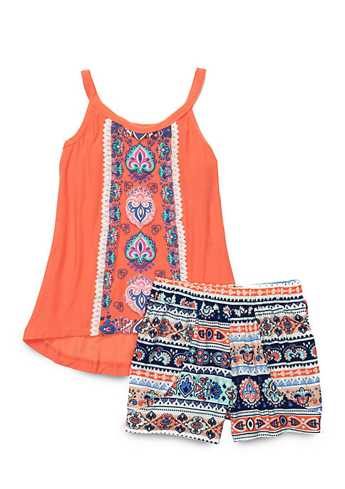 One Step Up Girls 4-6x Aztec Printed Shorts