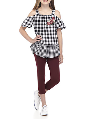 cf23fc7a One Step Up. One Step Up GIrls 7-16 Black and White Check Woven Leg Set