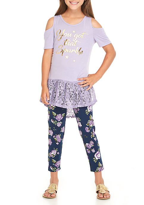 One Step Up Girls 7-16 Two-Piece Short Sleeve