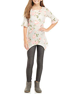Girls 7-16 2-Piece Gray Floral Lace-Up Top Legging Set