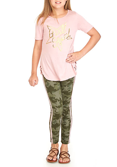 One Step Up Girls 7-16 Short Sleeve Camo