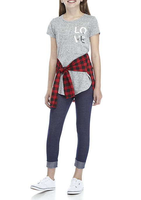 One Step Up Girls 7-16 Short Sleeve Plaid
