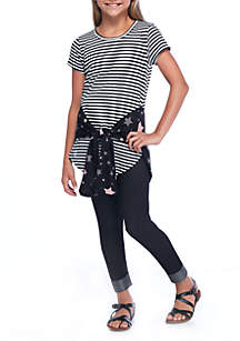 Girls 7-16 Short Sleeve Stripes and Stars Tied 2Fer Top