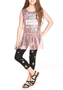 Girls 7-16 Pink Glitter Mesh Legging Set
