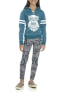 Girls 7-16 2-Piece Owl Hoodie and Leggings Set