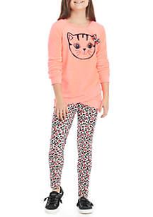 Girls 7-16 2-Piece Cat Woobie Tunic and Legging Set