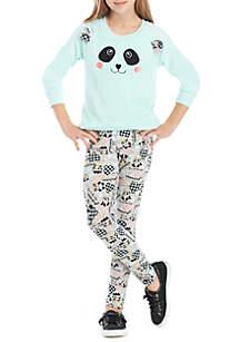 One Step Up Girls 7-16 2-Piece Panda Woobie Top with Printed Legging Set