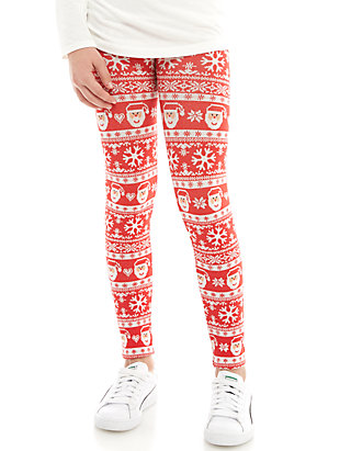 f5d9f44f5bd846 One Step Up Girls 7-16 Seamless Red Santa Christmas and Black ...