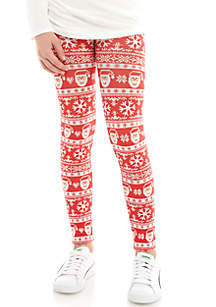 Girls 7-16 Seamless Red Santa Christmas and Black Legging Set