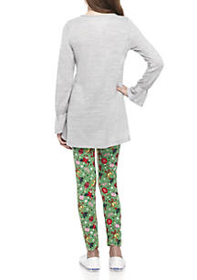 one step up girls 7 16 wreath printed christmas legging set