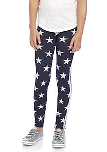 One Step Up Girls 7-16 Seamless Navy Stars to Black Legging Set