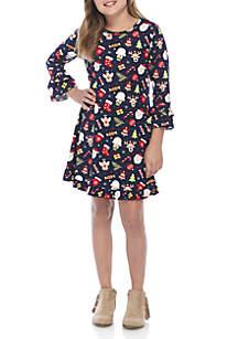 Girls 7-16 Christmas Print Dress Set