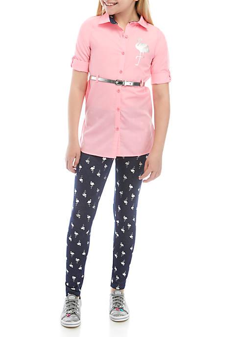 Girls 7-16 Button Down Flamingo Set